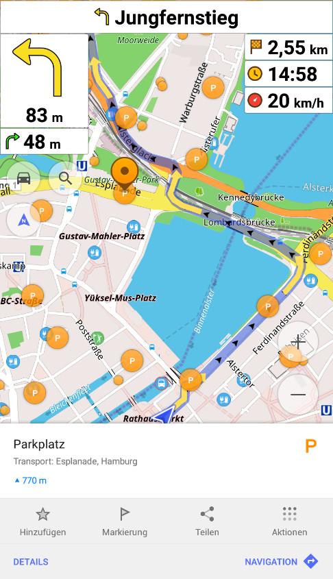 Screenshot 1 - OsmAnd: Offline-Reisekarten & Navigation (Android-App)