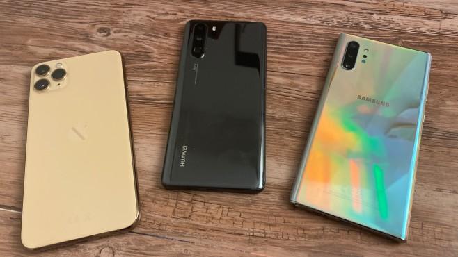 iPhone 11 Pro Max vs. Huawei P30 Pro, vs. Galaxy Note 10 Plus©COMPUTER BILD