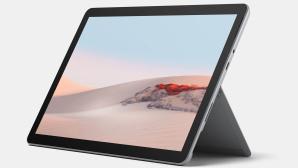Microsoft Surface Go 2 vor grauem Hintergrund.©Microsoft