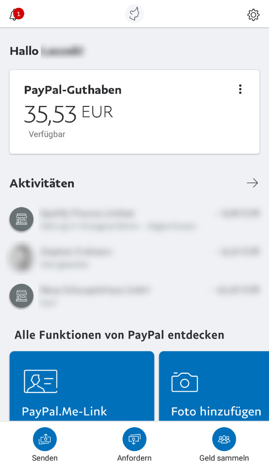 Screenshot 1 - PayPal (Android-App)