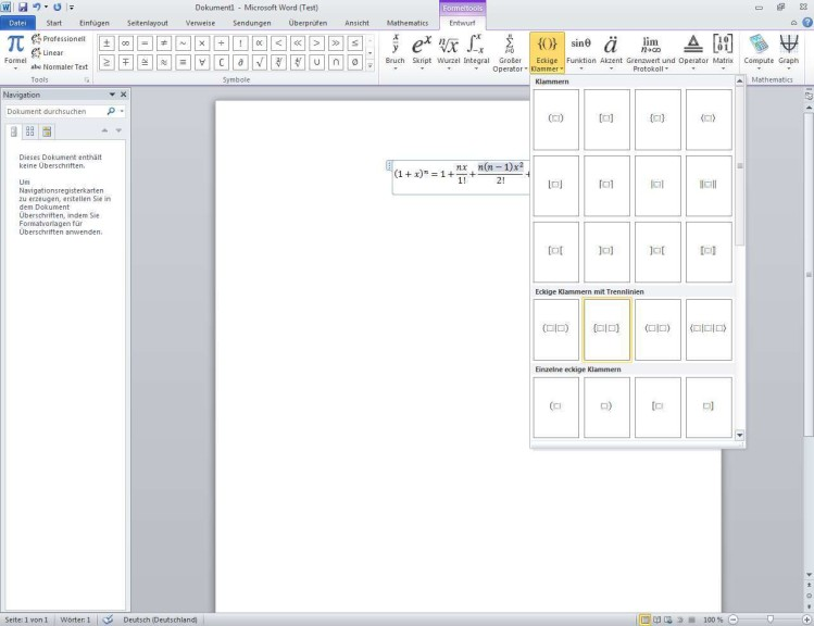 Screenshot 1 - Microsoft Mathematik Add-in für Office 2010