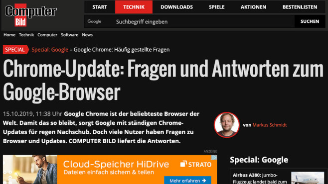 Chrome 78: Dark Mode für Webseiten©COMPUTER BILD