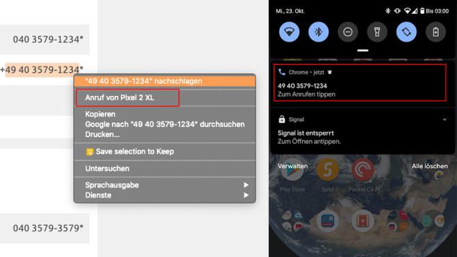 Google Chrome 78 mit Telefon-Funktion©COMPUTER BILD