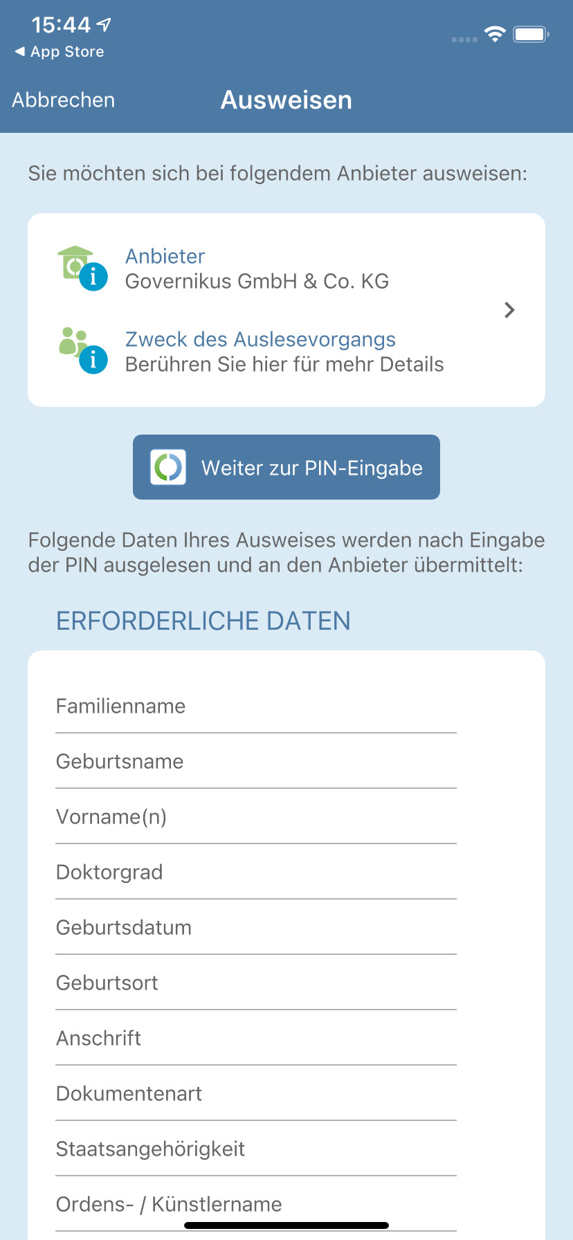 Screenshot 1 - AusweisApp2 (App für iPhone & iPad)