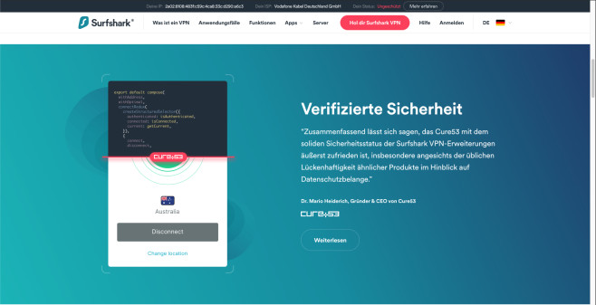 """Surfshark: VPN im Test – Mehr Biss als die Konkurrenz? Bei der """"Verifiziertzen Sicherheit"""" schießt der VPN-Hai etwas übers Werbe-Ziel hinaus: Das durchgeführte Sicherheits-Audit umfasst nur die Browser-Erweiterungen.©Surfshark"""