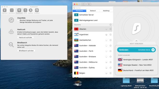 Surfshark: VPN im Test – Zähne zeigen im Haifischbecken! Ob auf Windows oder Mac: Die neuen Funktionen HackLock und BlindSearch kosten 85 Cent im Monat zusätzlich.©Surfshark