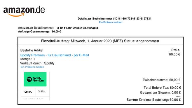 """Amazon-Phishing: Polizei Niedersachsen warnt vor neuen Abzock-Mails Mit solchen """"Quittungen"""" verunsichern Cyberkriminelle arglose Amazon-Kunden. (Bild: )©www.polizei-praevention.de"""