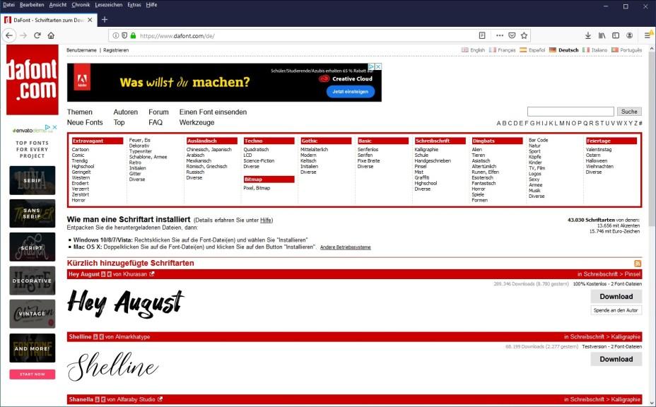 Screenshot 1 - DaFont: Schriftarten zum Download