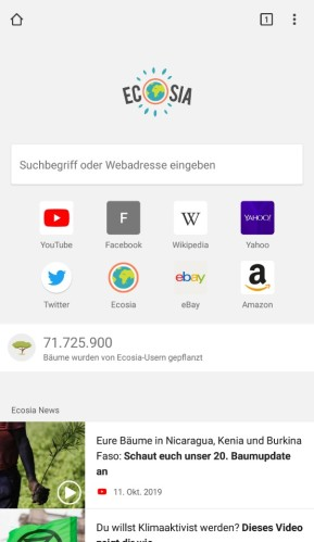 Ecosia (App für iPhone & iPad)