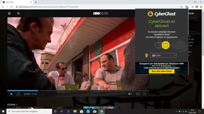 Chrome-VPN: Add-ons zum anonymen Surfen Mit dem Add-on von CyberGhost funktioniert sogar der Stream von HBO Now mit dem amerikanischen Server.©HBO/ CyberGhost/ Google