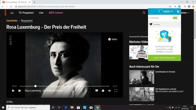 Chrome-VPN: Add-ons zum anonymen Surfen Mit den Deutschen Servern des Chrom-Add-ons von Hide.Me lassen sich Mediatheken und Live-TV streamen.©Hide.Me/ Arte/Google