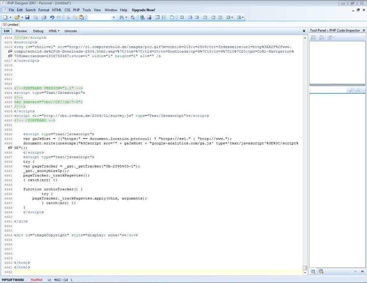 Screenshot 1 - PHP Designer 2007 Personal