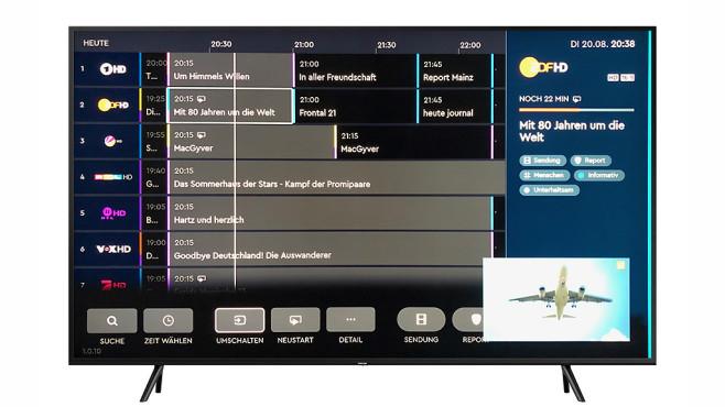 Samsung Q60R: Der günstigste QLED-Fernseher im Test Dank HD+ App kann der Samsung auch die Privatsender in HD auf einer USB-Festplatte aufnehmen, die zugehörige Programmvorschau ist schön übersichtlich.©Samsung, COMPUTER BILD