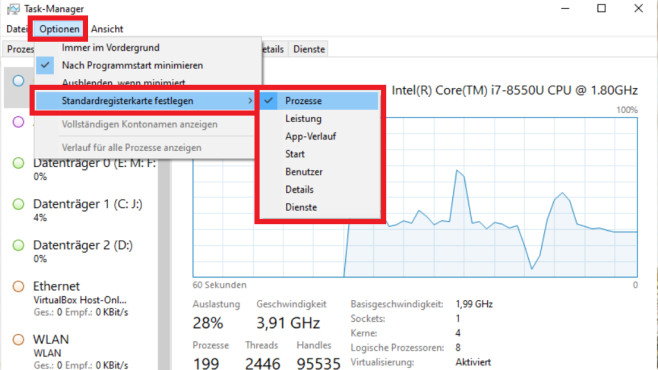 Windows 10 1903/1909: Task-Manager-Standardregisterkarte festlegen©COMPUTER BILD