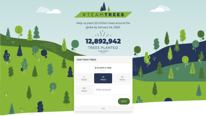 #TeamTrees©Screenshot/https://teamtrees.org/