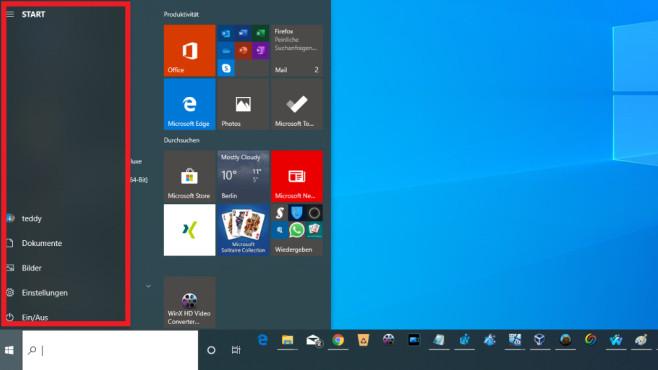Windows 10 1909: Hamburger-Symbol im Startmenü ohne Klick nutzbar©COMPUTER BILD