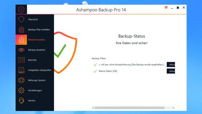 Exklusive Vollversion: Ashampoo Backup 14 Pro für Datensicherungen Mit Ashampoo Backup 14 stellen Sie Ihre Daten wahlweise unter Windows oder mittels Boot-Stick wieder her.©COMPUTER BILD