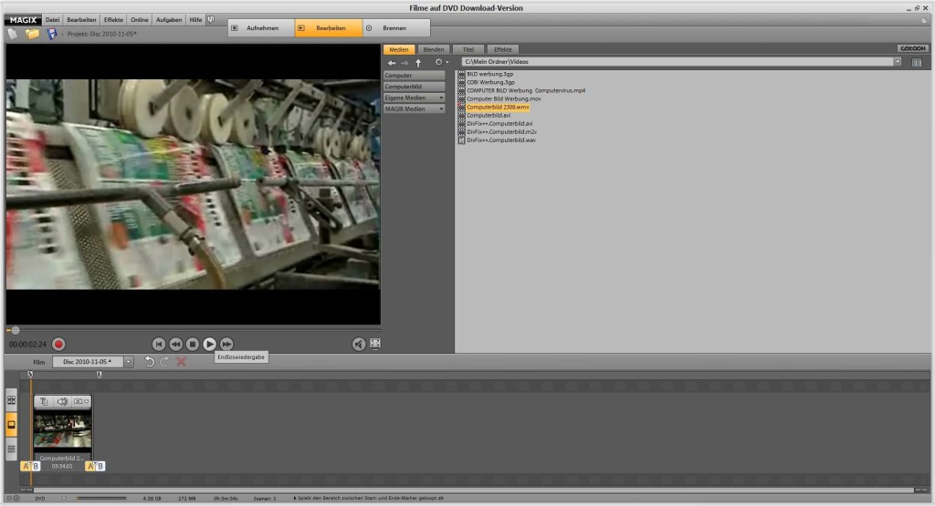 Screenshot 1 - Magix Filme auf DVD