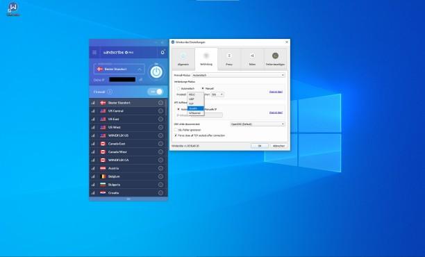 Windscribe:  VPN-Protokolle©Windscribe/Microsoft