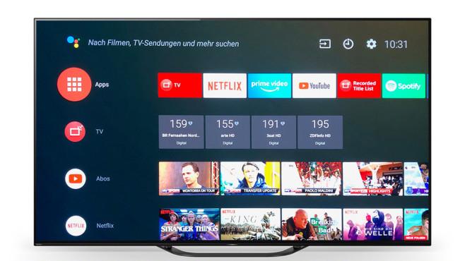 OLED-Fernseher Sony AG8 im Test: Der Preisbrecher Sony Bravia AG8 mit Android 8 im Test: Die erste Zeile zeigt die installierten Lieblings-Apps, darunter nach Wahl zuletzt geschaute TV-Kanäle und auf Wunsch Youtube-Empfehlungen.©Sony, COMPUTER BILD