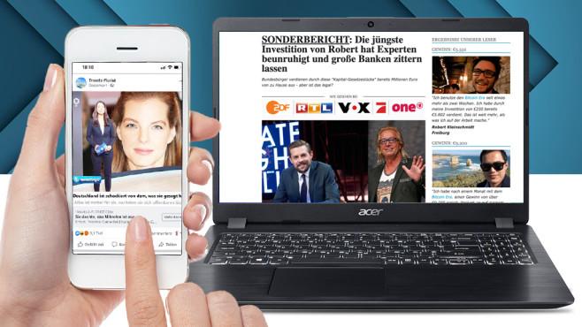"""Fake-Artikel: Schnell reich werden – wie diese Promis? Der Chatbot """"Re:scam"""" zieht in den Quassel-Kampf gegen illegale Machenschaften.©COMPUTER BILD"""