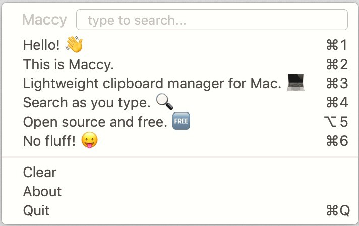 Screenshot 1 - Maccy (Mac)