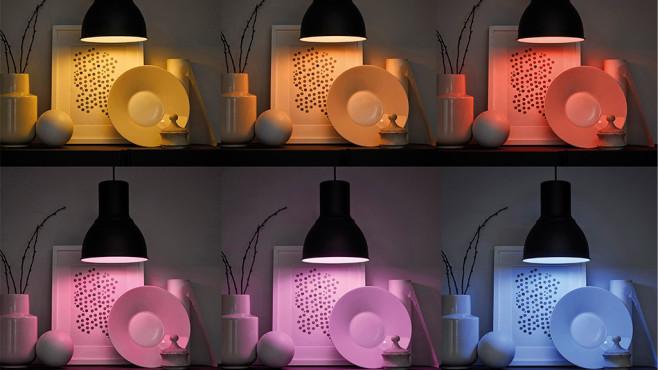 IKEA-Trådrfi-Lampen leuchten in verschiedenen Farben ©IKEA