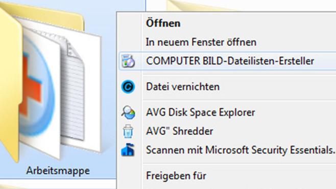 COMPUTER BILD-Dateilisten-Ersteller ©COMPUTER BILD