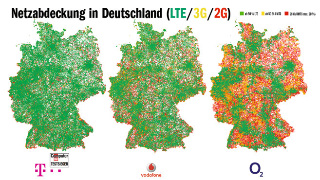 Netzabdeckung in Deutschland (LTE/3G/2G) im Vergleich©COMPUTER BILD