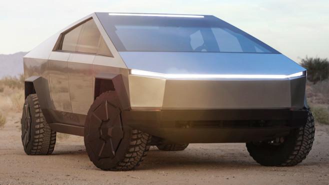 Tesla Cybertruck steht in der Wüste©Tesla