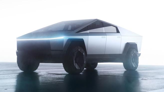 Tesla Cybertruck steht vor hellem Hintergrund©Tesla