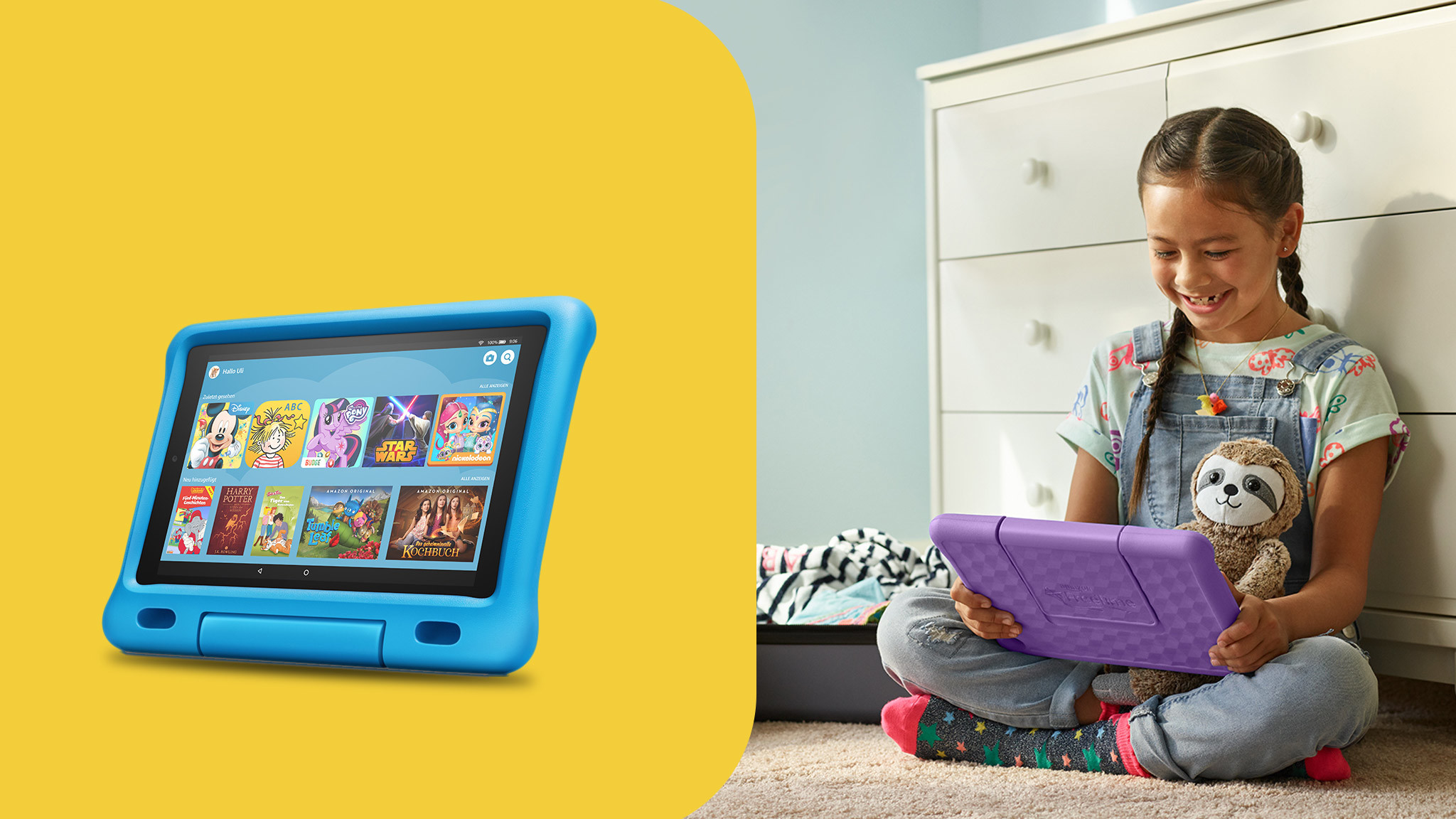 Links: Amazon Fire Kids Edition vor gelbem Hintergrund, rechts: Kind spielt mit Amazon Fire HD 10 Kids Edition © Amazon