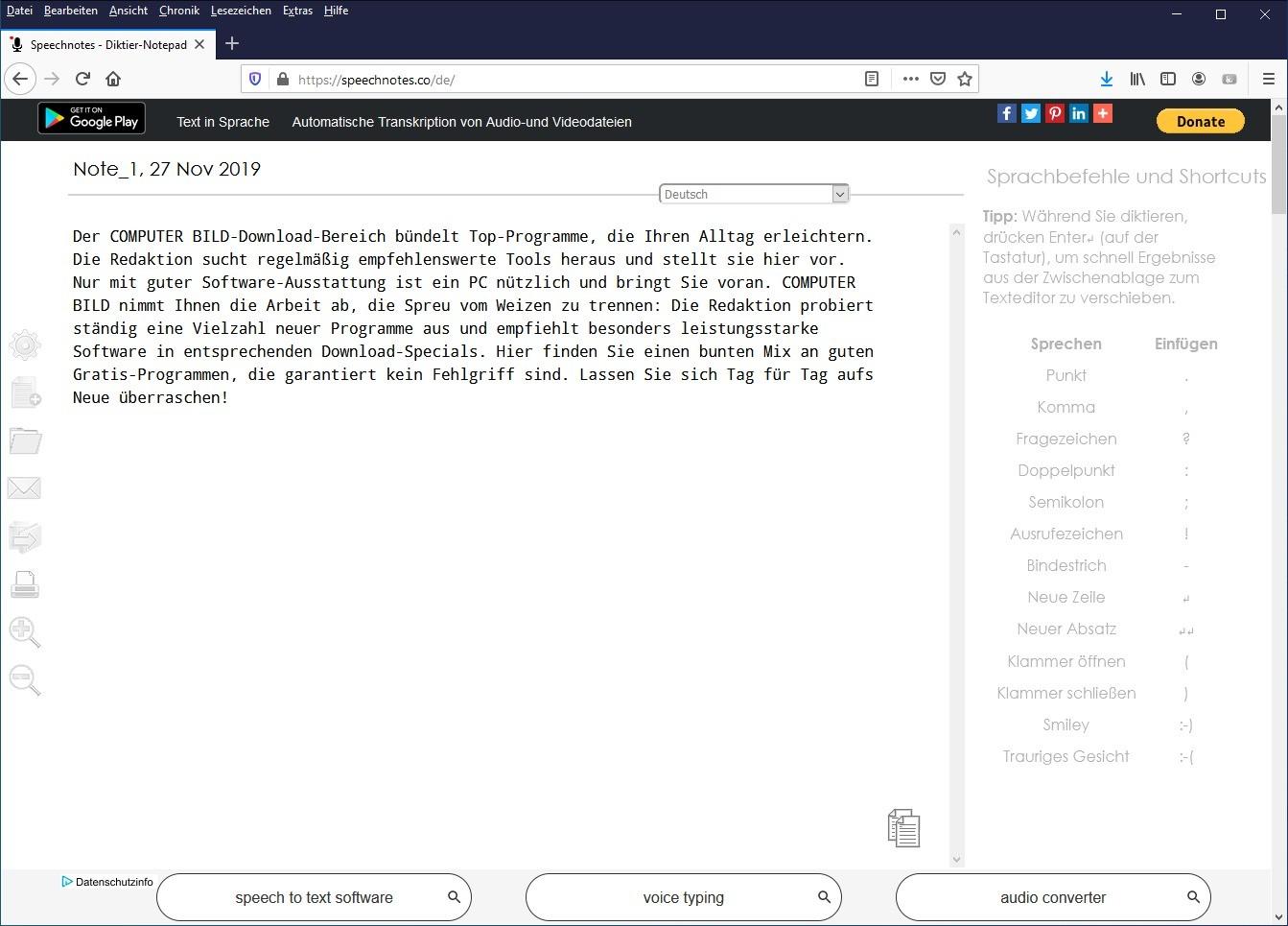 Screenshot 1 - Speechnotes: Sprache zu Text