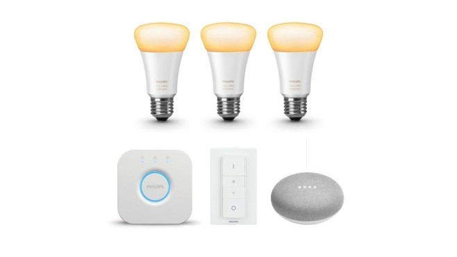 Philips Hue White Ambiance E27 Bluetooth Starter Kit + gratis Google Home Mini © Tink