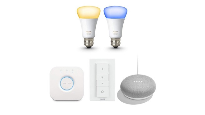 Philips Hue White & Color Ambiance E27 Bluetooth Starter Kit + Google Home Mini © Tink