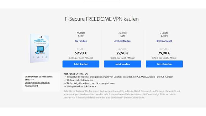 Freedome im Test: Der VPN von F-Secure Die Preise für den F-Secure VPN bewegen sich im guten Mittelfeld der getesteten VPN-Anbieter.©F-Secure Freedome / Medion
