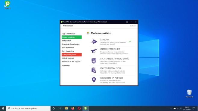 PureVPN im Test: VPN-Schutz? Als ob es immer so eindeutig wäre: Vor der Verbindung muss der Nutzer bestimmen, was er machen will.©PureVPN/Microsoft