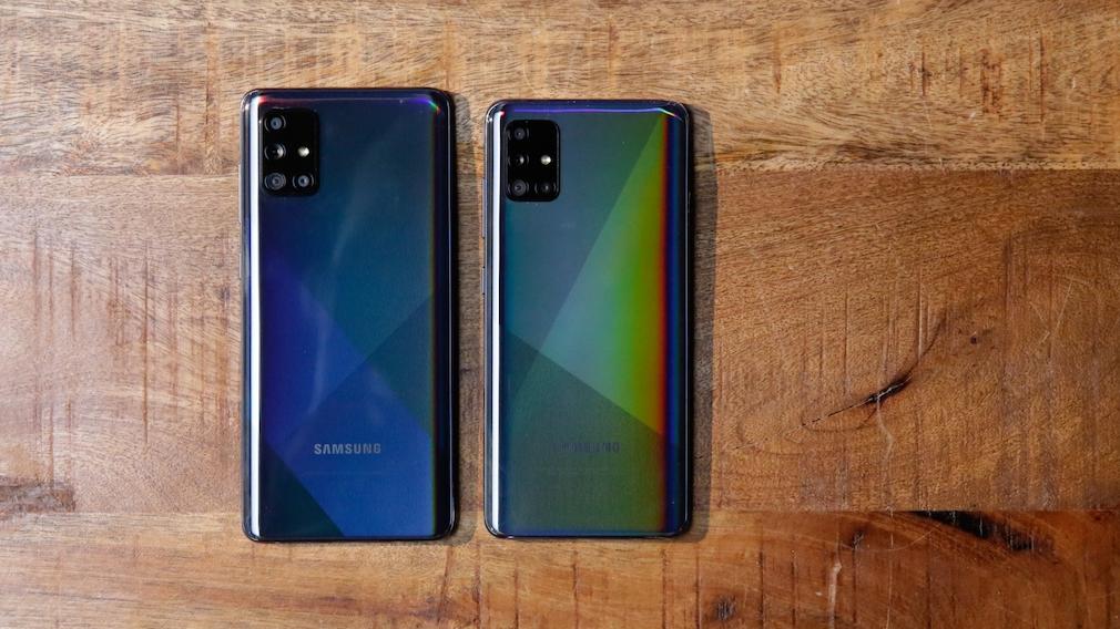 Samsung Galaxy A71 und A51: Größenvergleich