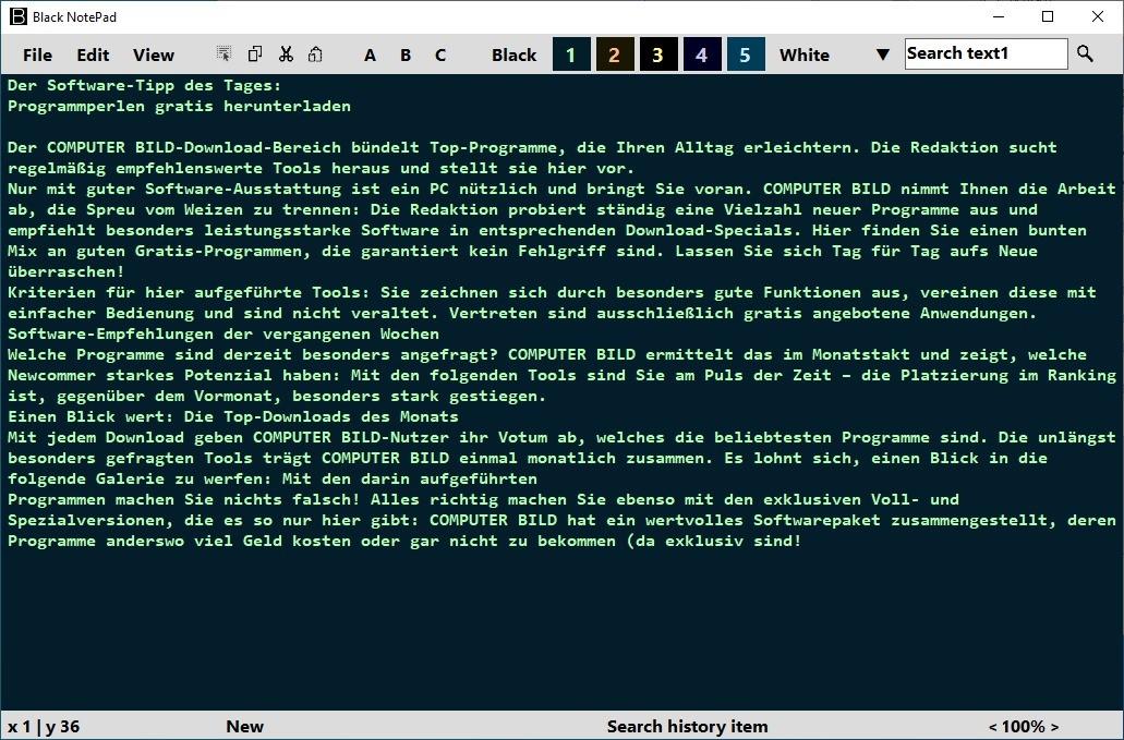 Screenshot 1 - Black NotePad