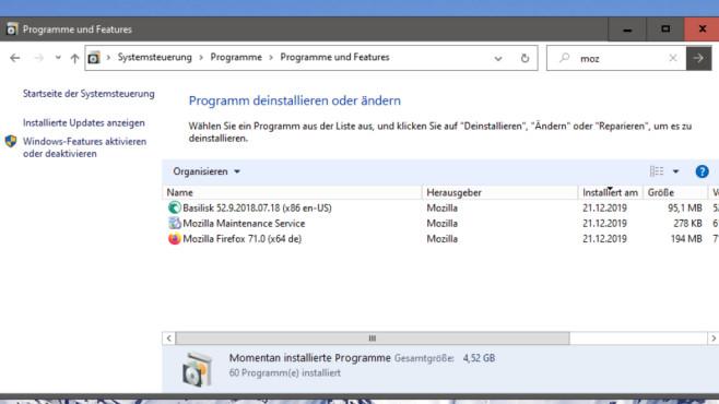Windows 10 1909: appwiz.cpl zeigt Softwareliste©COMPUTER BILD