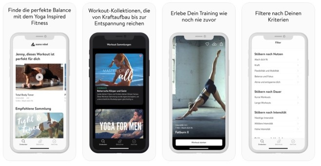 Yoga und Fitness (iOS) / Yoga Inspired Fitness (Android) © Asana Rebel GmbH