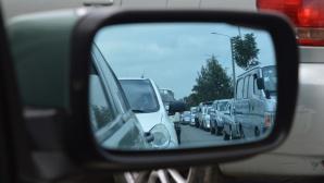 Verkehrsstau im Rückspiegel©pexels
