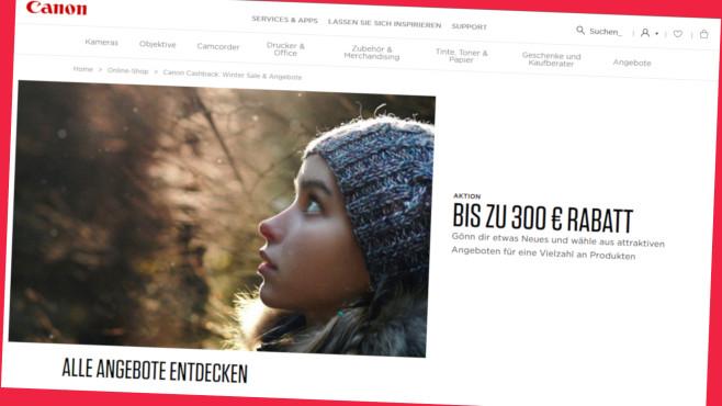 Canon Winter Sale mit 300 Euro Rabatt sichern©Screenshot store.canon.de