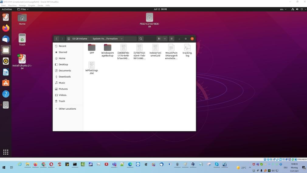 Windows 7/8/10: Systemwiederherstellung einschalten, starten und nutzen Dieses Ubuntu-Live-System, das aus einer DVD-ISO-Datei gebootet ist, bringt die verborgenen rstrui-Ordner-Inhalte auf den Bildschirm.
