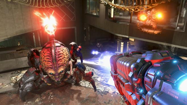 Doom Eternal in der Vorschau: Klick, Klick, Doom! Die Arachnotrons und andere Gegner haben nun Schwachstellen. Hier ballern Sie am besten zuerst die Beine ab.©Bethesda