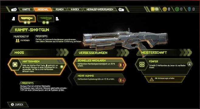 Doom Eternal in der Vorschau: Klick, Klick, Doom! Durch die aufwertbaren Waffen-Mods werden Ihre Waffen noch vernichtender.©Bethesda