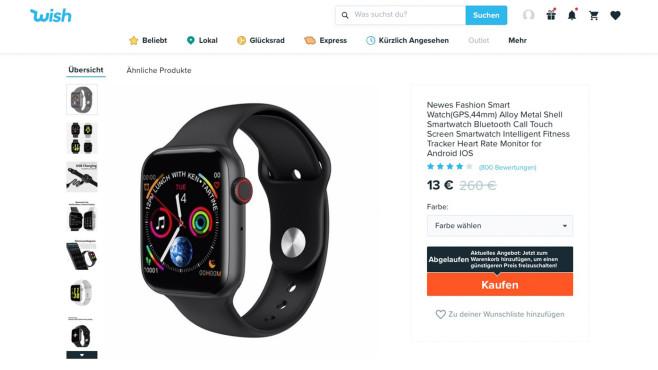 Wish Angebot Apple Watch©Screenshot wish.com
