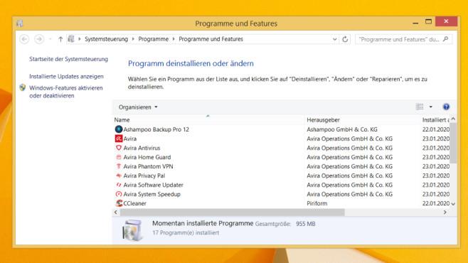 Windows 7/8/10: Wie viele Programme sind installiert? appwiz.cpl weiß es©COMPUTER BILD