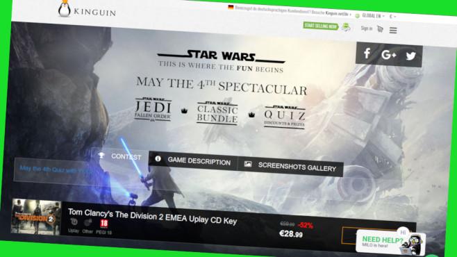 Online-Gutschein: Extra-Rabatt für Gamer beim Kinguin©Screenshot www.kinguin.net