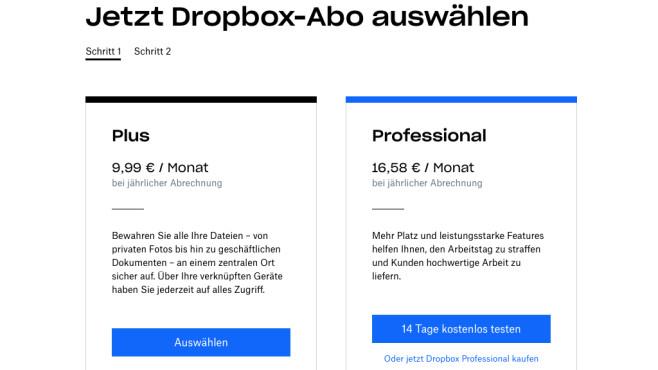 Dropbox: Tarife im Vergleich©Dropbox
